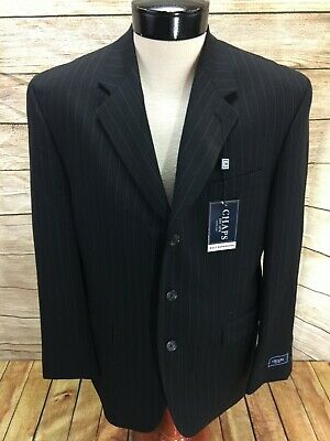 New Chaps Suit Separates Blazer Sportscoat Mens 42 Short Black White Pin Stripe Stripe Suit Separates