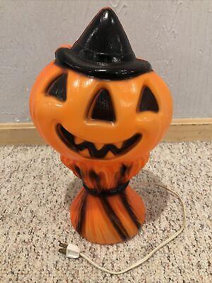 "14"" Vintage 1969 Empire Halloween Blow Mold Pumpkin Scarecrow Jack O Lantern"