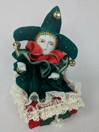 "VTG PORCELAIN Musical Animated JESTER/JACK IN THE BOX  Christmas ""SILENT NIGHT"""