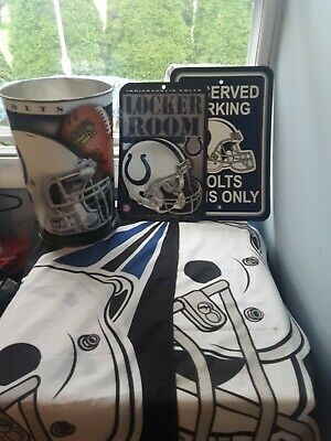 Colts Decorations (Lot Of Indianapolis Colts Man Cave Decorations 2 Flags 2 Signs A Trash)