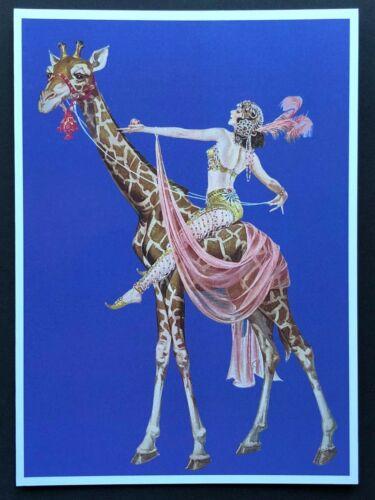 Blank Art Note Card GIRAFFE FLAPPER fantasy NOS Pleiades Press #144 circus jewel