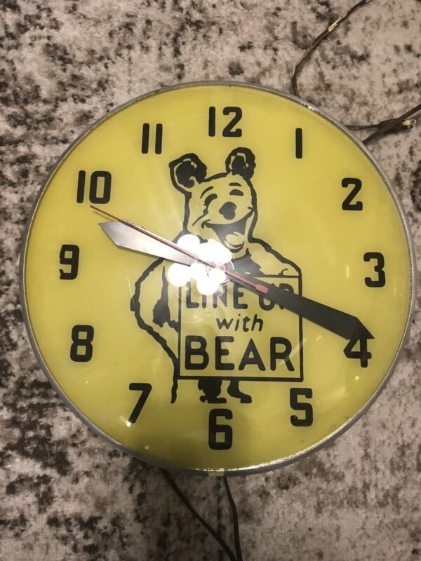 Vintage Line Up With Bear  Electric Clock Gas Oil
