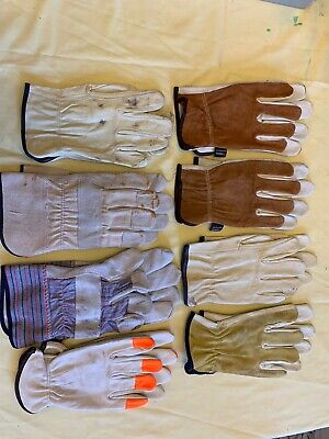 8 Pair New Large Leather Work Gloves Safety Ppe Non Insulated Shop Or Yard Glove