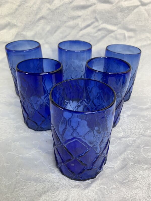6 Cobalt Blue Diamond Quilted Handblown Mexican Art Glass Tumblers Glasses