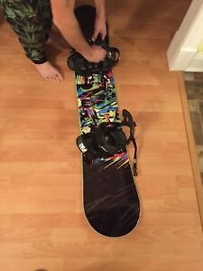 Snowboard with boots