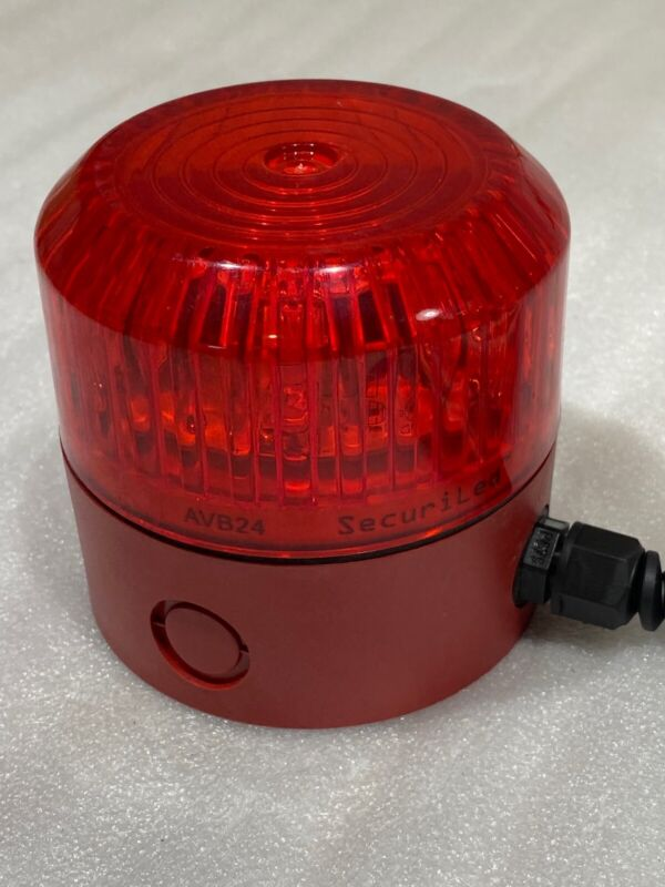 Industrial Red Led Strobe Warning Light With Cable SecuriLed AVB24 20ft+ Cord
