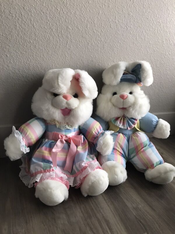 "Vtg Fairview Pastel Set Of 2  16"" Bunny Rabbits Toy plush plaid hat"