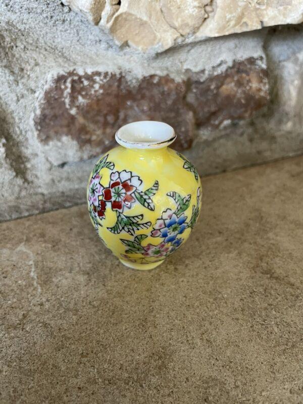 Oriental Japanese Hand Painted Floral Mini Bud Vase