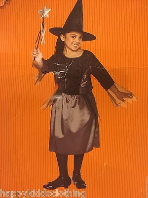 New Girls Witch Costume Size 4 5 6 years old halloween hat dress wand](4 Year Old Halloween Costume)
