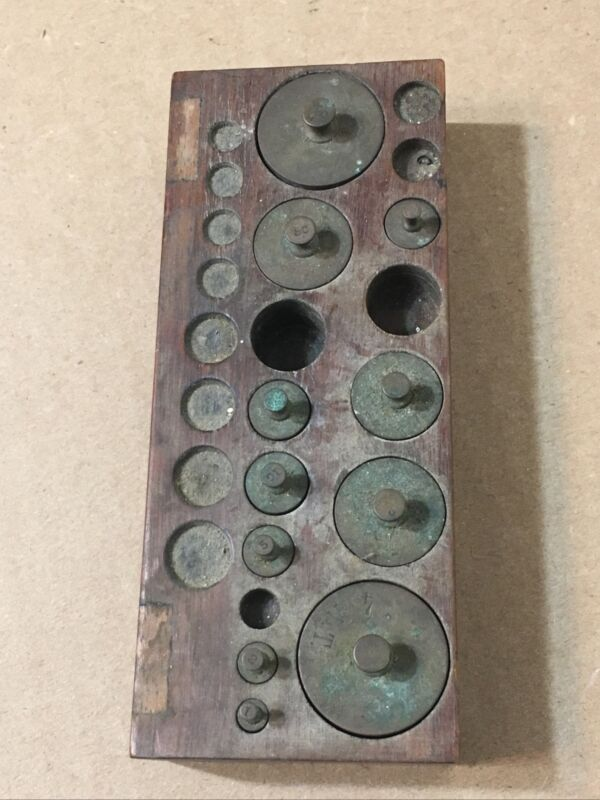 Partial Set Of Brass Apothecary Or Gold Scale Weights