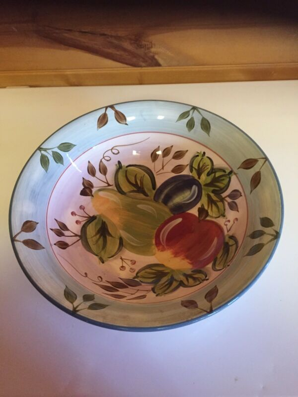 Vintage Heritage Mint Black Forest Fruits 12 Inch Salad/Serving Bowl