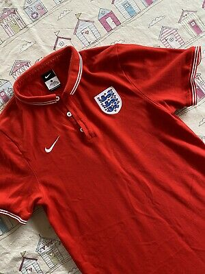 Mens Nike England Football Polo Shirt, Red & White, Size Small