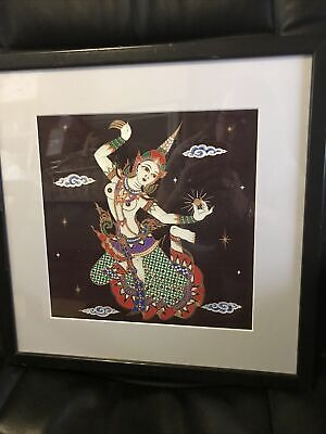 Asian Silk Painting Vintage Thai Dancer framed and mounted