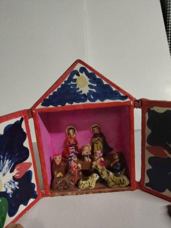 Peruvian Wooden Retablo, Nativity Scene, Religious, Peru
