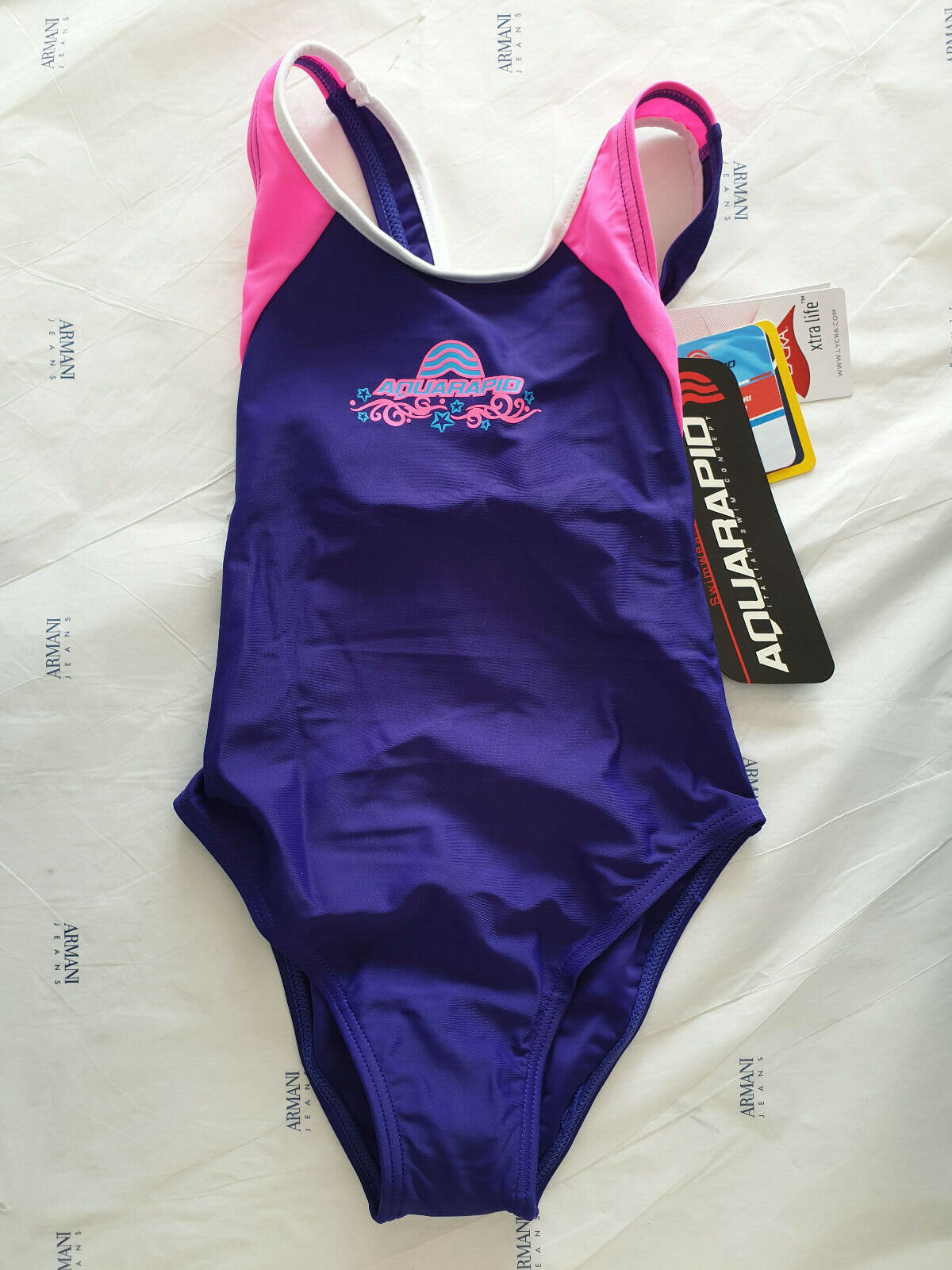 COSTUME AQUARAPID BAMBINA PEPES E VIOLET VIOLA INTERO PISCINA MARE SWIMSUIT