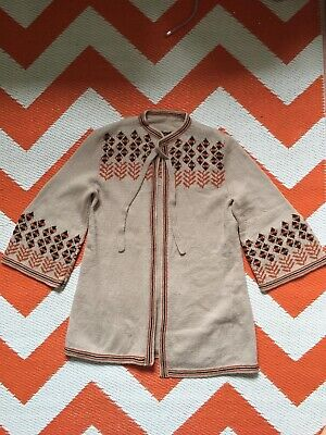 Vintage 60s 70s  Swedish Hand Knit Jumper Cardigan Size Uk 8