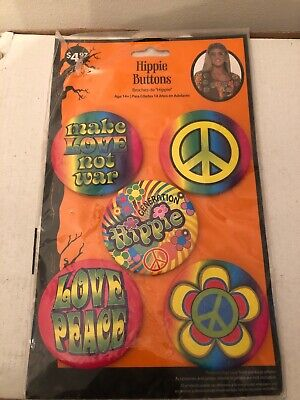 Hippie Flower Child Woodstock Pinback Buttons Set of 5 Costume Accessory - NEW!