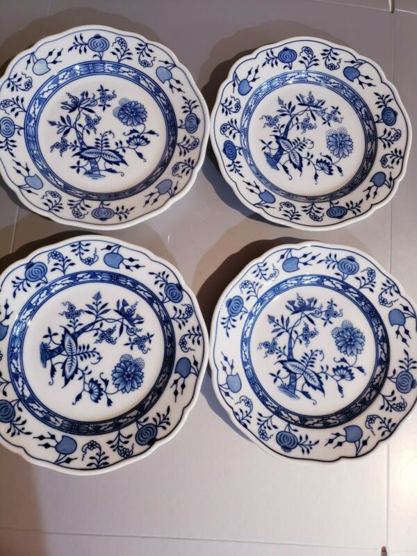 HUTSCHENREUTHER - BLUE ONION - BREAD & BUTTER PLATES - SET OF 4 - GERMANY
