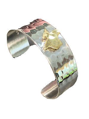 State Of Texas Silvertone Brass Hammered Wide Cuff Bracelet Signed Rustic Cuff