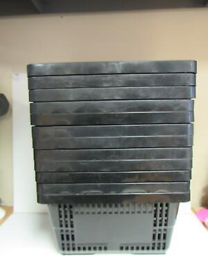 Grocery Shopping Hand Basket Set Of 12 Black Plastic W Large Handles 5549c