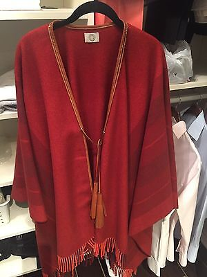 """HERMES Poncho """"Rocabar"""" Rouge H Wool90%/Cashmere10% [Brand new][Auth]"""