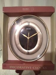 New Home Trends Decorative Oval Analog Wall Clock 10.5 Inches Black & pewter NIB