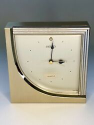 Vintage Seiko Quartz Alarm Desk Clock Brass Chrome Sleek Retro Modern