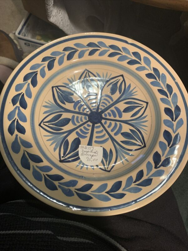 HENRIOT QUIMPER VINTAGE FAIENCE GEOMETRIC PATTERNED PLATE