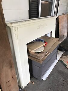 Antique Fireplace Wood Mantle