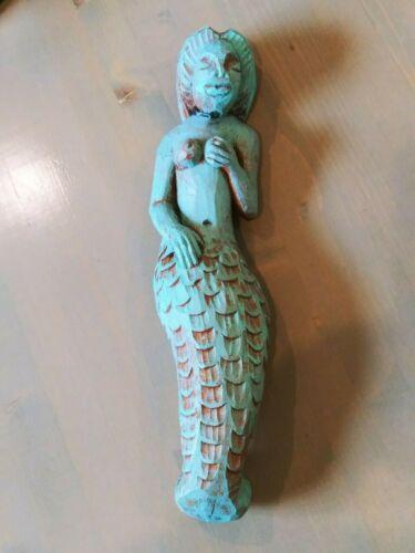 Hand Carved Enameled Wood NUDE WOMAN Nautical Ship Figurehead Mermaid Wall Decor
