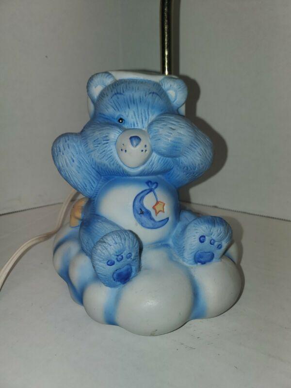 Vintage Care Bears 1983 Bedtime Bear Bedside Lamp Porcelain Blue Moon Star