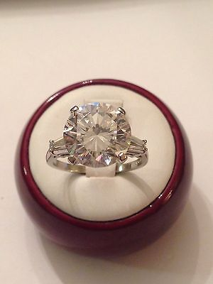 Vintage Platinum 12mm Round White Stone w/ Tapered Diamond Baguette Ring, Size 8