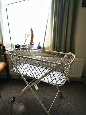 Victorian Iron Framed Folding Cot Childs Bed on Castors