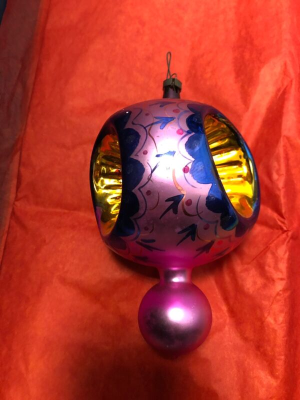 Vintage Ex Large Shiny Brite Glass Christmas Ornaments Indent Paint Mica Balls