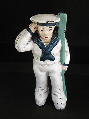 Painted Cast Iron Still Bank-Old-Time Saluting Sailor With Oar