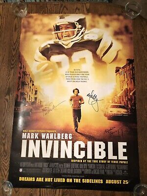 Invincible Movie Poster 4 Signed Mark Wahlberg Elizabeth Banks Vince Papale Core Core Movie Poster