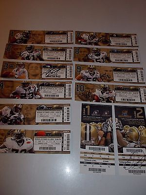 2010 NEW ORLEANS SAINTS AUTOGRAPHED SEASON TICKETS (BREES,MOORE, COLSTON, SMITH)