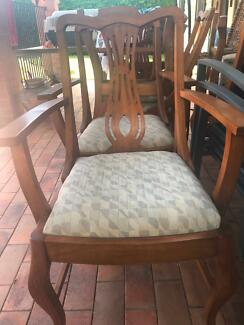 Dining chairs - antique style. Upholstered seat.