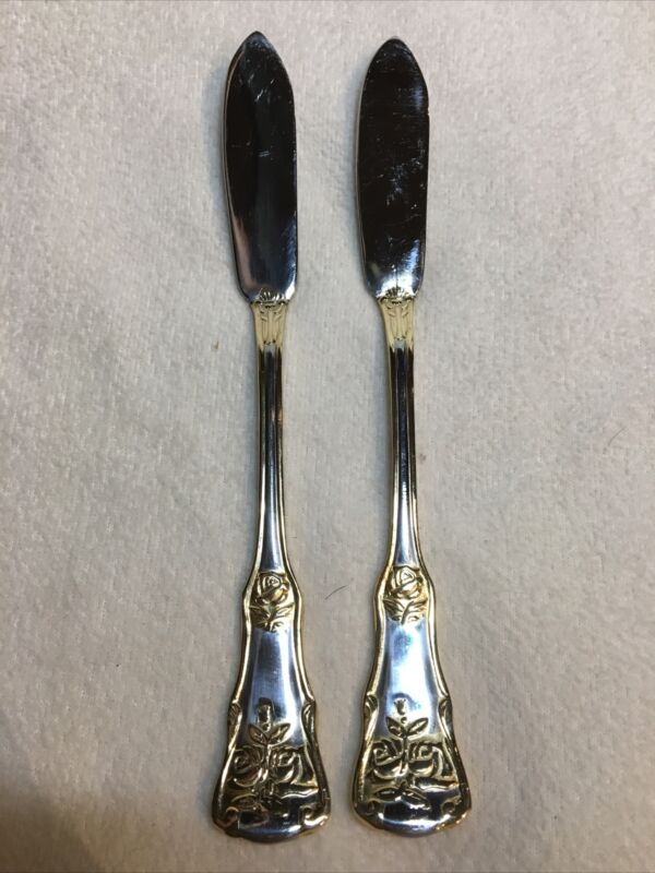 Royal Albert OLD COUNTRY ROSES Stainless Butter Knives, Gold Accent, Set of 2