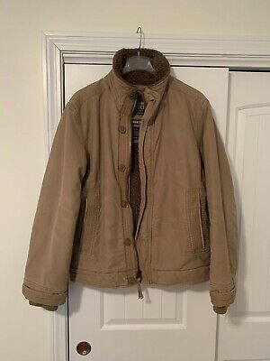 Distressed Mens Large ABERCROMBIE & FITCH Sherpa Lined ADIRONDACK Jacket