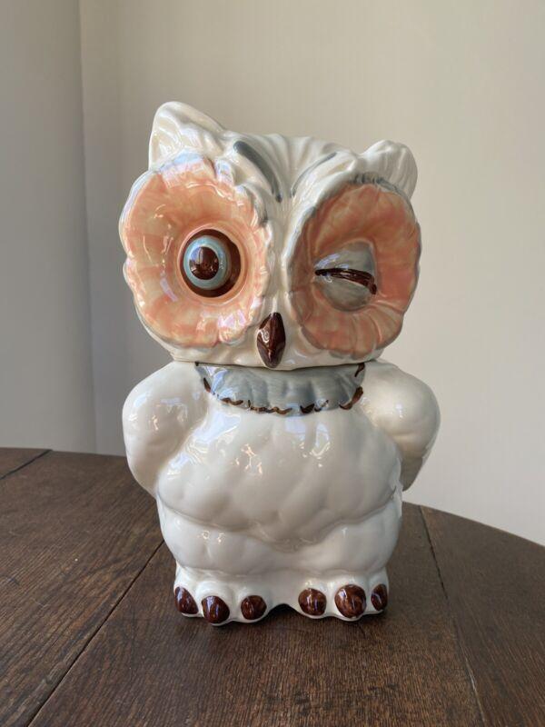 Vintage Shawnee Winking Owl Cookie Jar USA EUC
