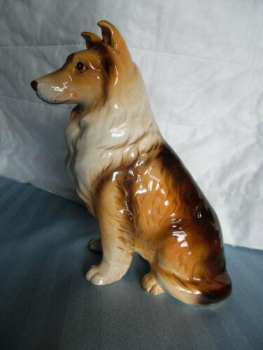 "Vtg Porcelain Ceramic Dog Figure Figurine Rough Collie Made In Japan 8"" tall"
