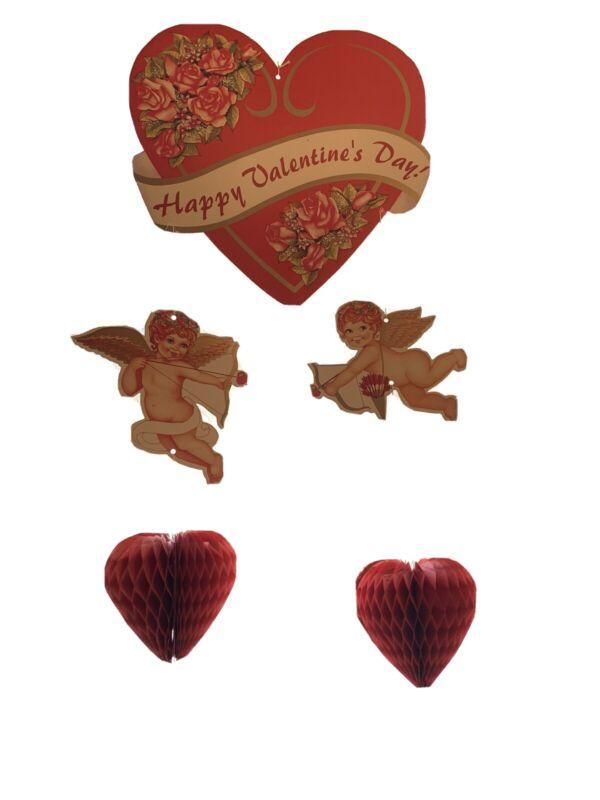 Vintage Valentines Day Honeycomb Paper Decoration Die Cut Hanging Cupid Cherub