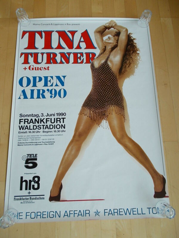 +++ 1990 TINA TURNER Concert Poster Germany Frankfurt 1st print! Subway Poster!