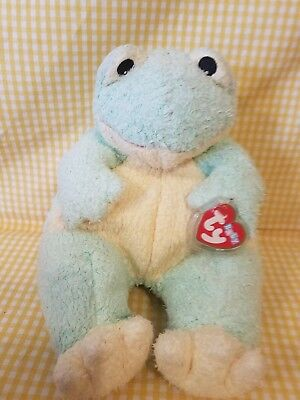 """TY BABY Frog Baby With Inside Rattle EMBROIDERED EYES 12"""" 1999 plush vgc tylon"""