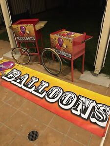 Balloon trolley and matching banner. Start your own market business