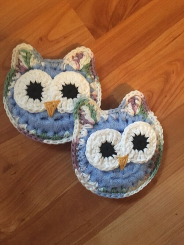 Crocheted Owl Scrubbie/washcloth - Set Of 2
