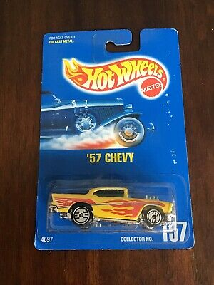 Hot Wheels #157 57 Chevy Yellow Blue Card