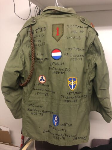 Orig US GI issue M-65 Field Jacket size 44 w. patches & pins memorial of service