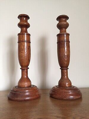 Art Deco Urn Style Solid Oak Turned Candlesticks